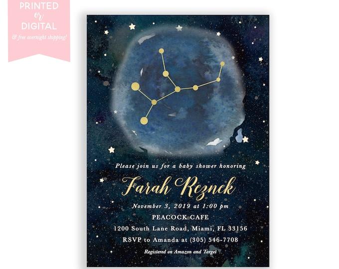 Zodiac Baby Shower Invitation Virgo, Celestial Invite, Constellation, Gender Neutral, Moon Stars Invitation, Printed or Digital File