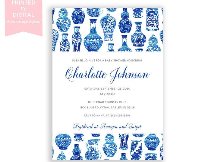 Blue and White Baby Shower Invitations, Preppy, Chinoiserie Baby Shower Invitation, Ginger Jar White Floral Baby Shower Invite, Blue Vase