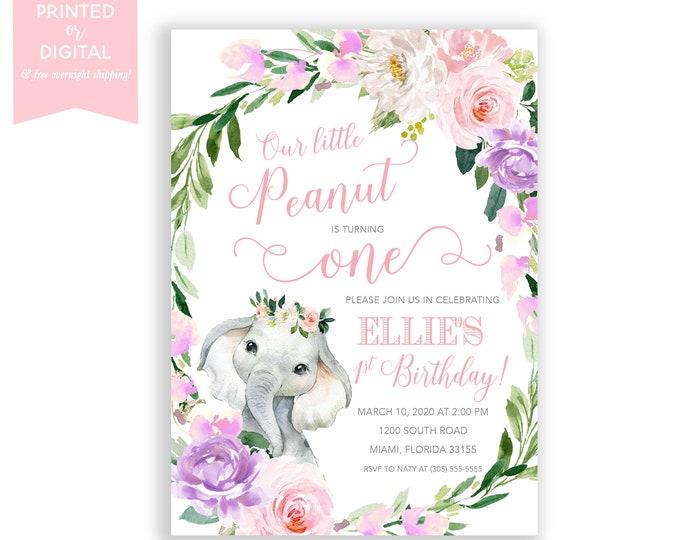 Elephant Birthday Invitation, Little Peanut, First 1st Birthday, Pink Floral, Little Peanut is Turning One, Printed Invitations or Digital