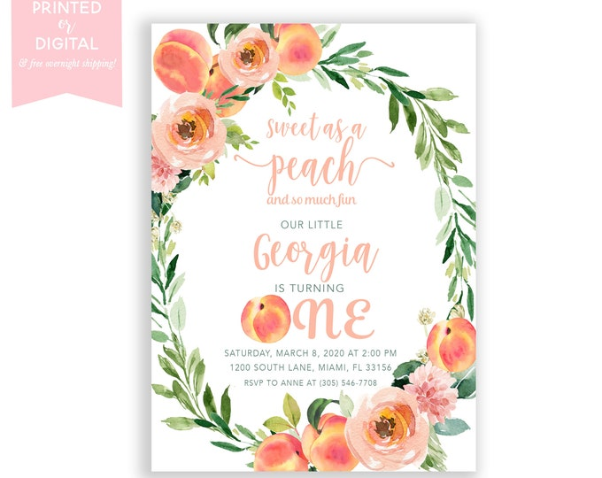 Sweet as a Peach Birthday Invitation Girl, Little Peach Turning One First 1st Birthday, Summer Birthday Fruit, Printed or Digital