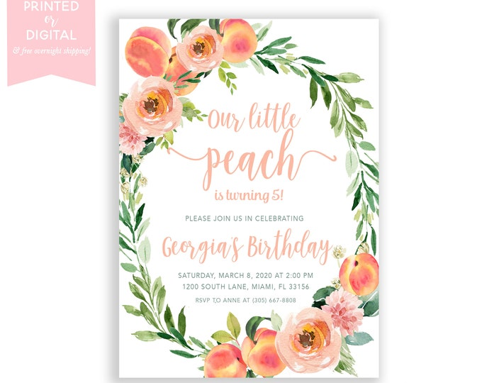 Our Little Peach Birthday Invitation Girl, Sweet as a Peach Birthday Invite, Peach Floral, Summer Birthday Fruit, Printed or Digital