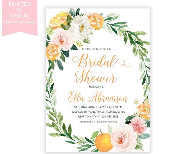 Orange Citrus Bridal Shower Invitation, Fruit Bridal Shower, Pink and Orange Floral Fruit Invitation, Printed or Digital