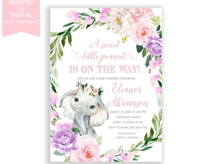Pink Elephant Baby Shower Invitation, Little Peanut Baby Shower, Peanut on the Way, Pink Floral, Watercolor, Printed Invitations or Digital