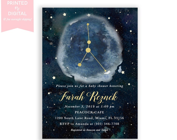 Zodiac Baby Shower Invitation Cancer, Celestial Invite, Constellation, Gender Neutral, Moon and Stars Invitation, Printed or Digital File