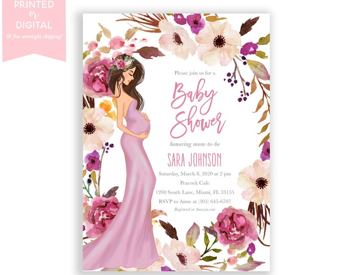 Mauve Baby Shower Invitation, Gender Neutral, Pregnant Mom to Be, Boho Chic, Purple Floral Invite, Baby Bump, Printed or Digital