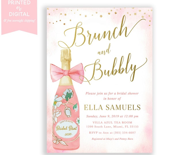 Bridal Brunch Invitation, Brunch & Bubbly Invitation, Champagne Bridal Shower Invite, Pink and Gold Watercolor, Printed or Printable