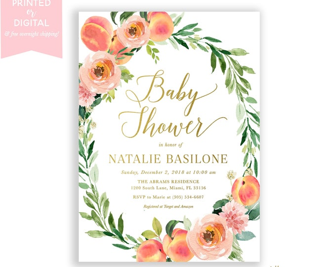 Peach Baby Shower Invitation, Little Peach Invite, Sweet Peach on the Way, Summer Fruit Baby Shower, Floral, Printed or Digital File