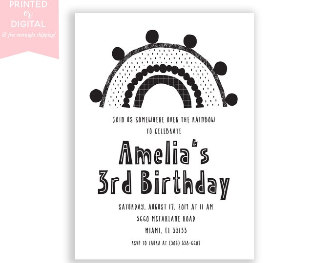 Minimalist Birthday Invitation, Black and White Rainbow Invite, Minimalist Kids Birthday Party 1st First, Neutral, Printed or Digital