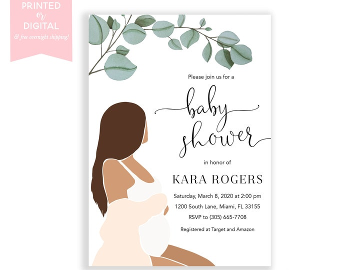 Boho Baby Shower Invitation, Minimalist, Abstract Modern Invite, Gender Neutral, Leaf, Pregnant Mom to Be, Baby Bump, Printed Digital