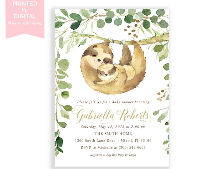 Sloth Baby Shower Invitation, Sloth Theme, Sloth Invitations, Watercolor Leaves, Gender Neutral, Printed Invitations, Digital File
