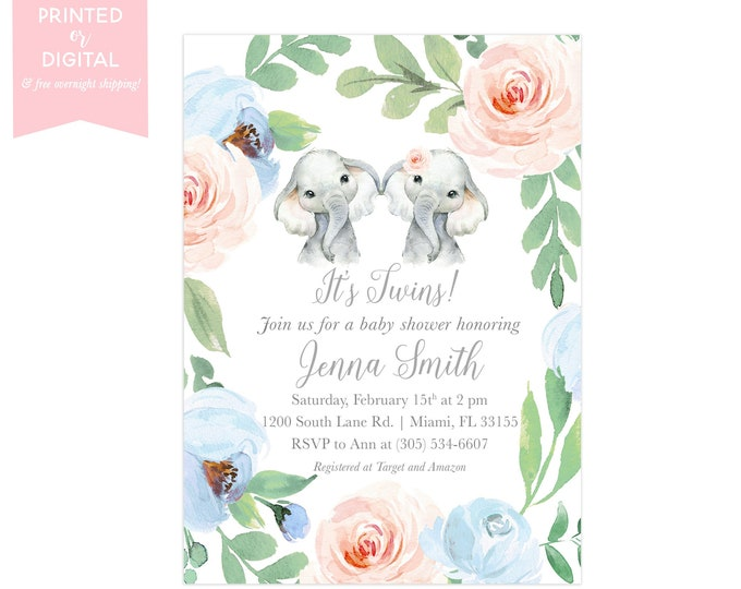 Boy Girl Twin Baby Shower Invitation, Elephant Baby Shower Invite, Pink and Blue Floral, Gender Neutral, Printed or Digital