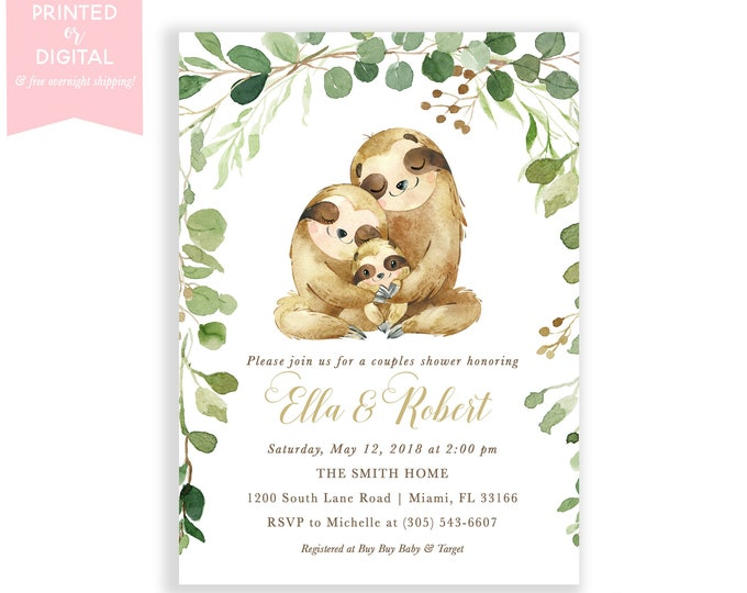 Sloth Baby Shower Invitation, Sloth Family, Sloth Invitations, Couples Shower, Gender Neutral, Printed Invitations, Digital File