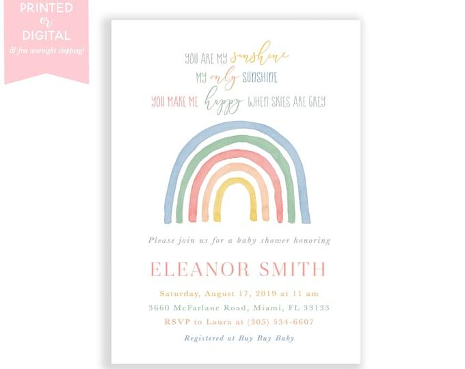 Muted Rainbow Baby Shower Invitation, Boho Rainbow Baby Shower Invite, Gender Neutral, Pastel, Printed Invitations or Digital File