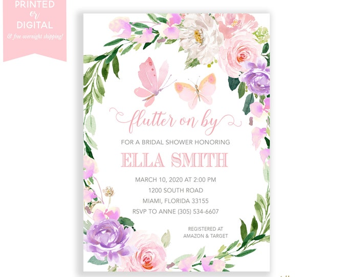 Butterfly Bridal Shower Invitation, Garden Party Bridal Shower, Tea Party, Pink Floral, Wedding, Printed Invitations or Digital File