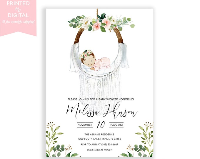 Boho Macrame Baby Shower Invitation, Girl Blessingway Invitation, Bohemian Dreamcatcher Invitation, Printed or Digital File