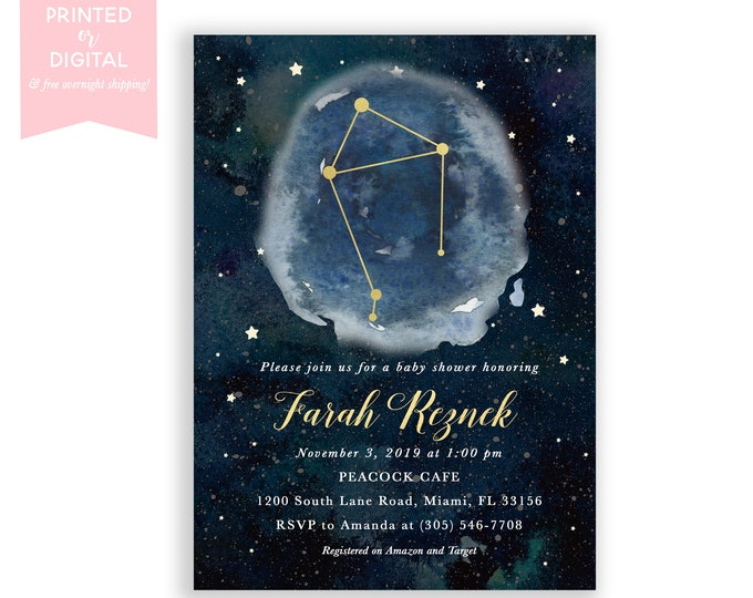 Zodiac Baby Shower Invitation Libra, Celestial Invite, Constellation, Gender Neutral, Moon and Stars Invitation, Printed or Digital File