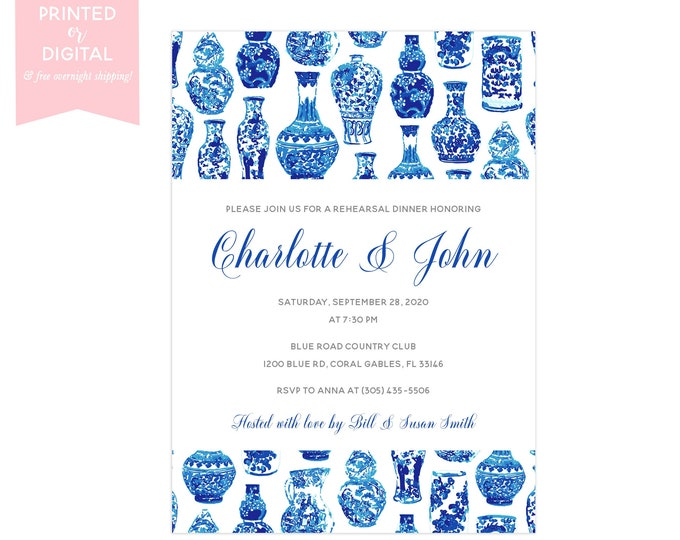 Blue and White Rehearsal Dinner Invitations, Preppy, Ginger Jar, Rehearsal Dinner Invitation, Engagement Party Invite, Printed Wedding