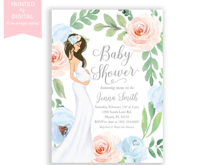 Boy Girl Twin Baby Shower Invitation, Gender Neutral Baby Shower Invitation, Gender Reveal, Pink and Blue Floral, Boho Pregnant Mom Invite