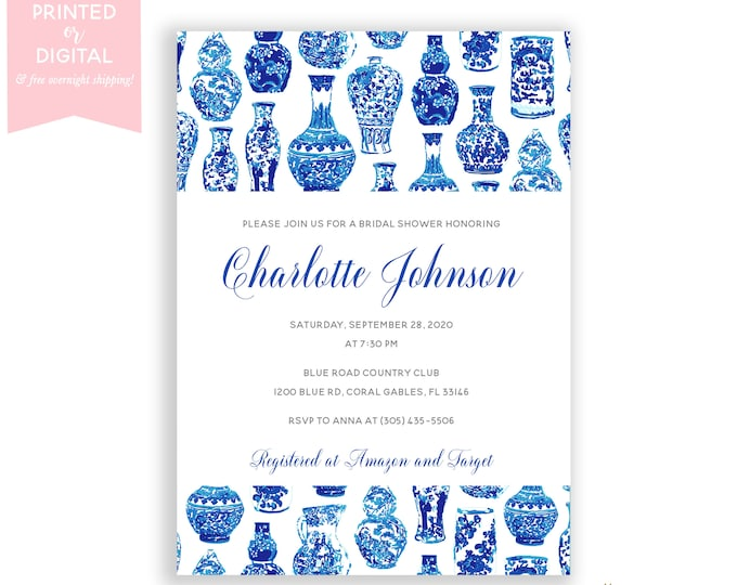 Blue and White Bridal Shower Invitations, Preppy, Chinoiserie Bridal Shower Invitation, Ginger Jar White Floral Bridal Shower Invite
