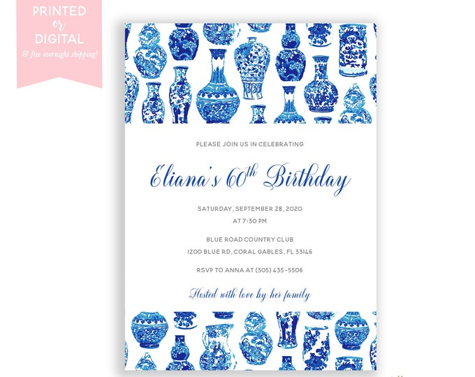 Blue and White Birthday Invitations, Preppy Birthday Party, Chinoiserie Invitation, Ginger Jar, Blue Vase, Birthday Dinner