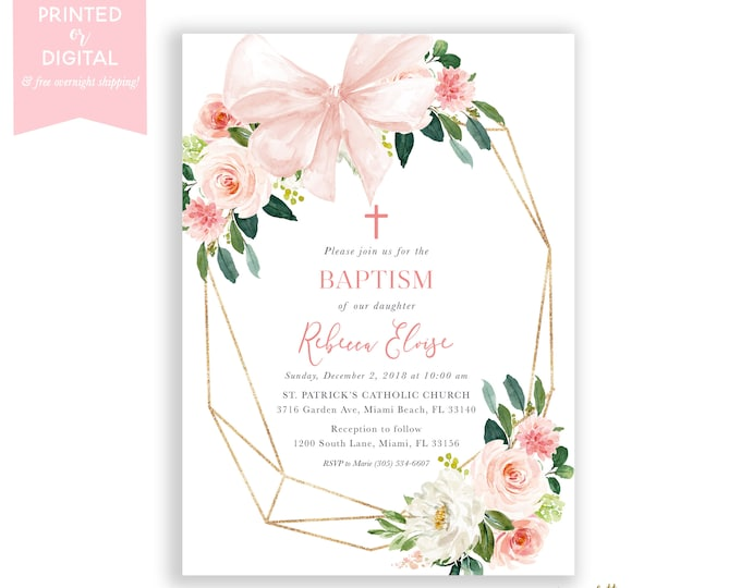 Blush Pink Geometric Baptism Invitation, Bow, Pink Floral Girls Baptism Christening Invite, Girls First Communion, Pink and Gold Floral