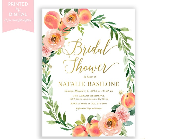 Peach Bridal Shower Invitation, Love is Sweet Invite, Sweet Peach Bridal Shower, Summer Fruit Bridal Shower, Floral, Printed or Digital File