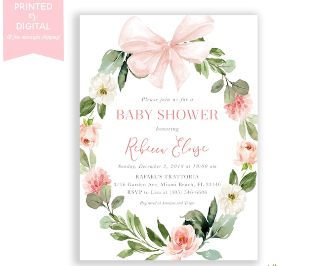 Pink Baby Shower Invitation, Bow, Wreath Baby Shower Invitation, Baby Shower Brunch, Floral Baby Brunch, Printed or Printable