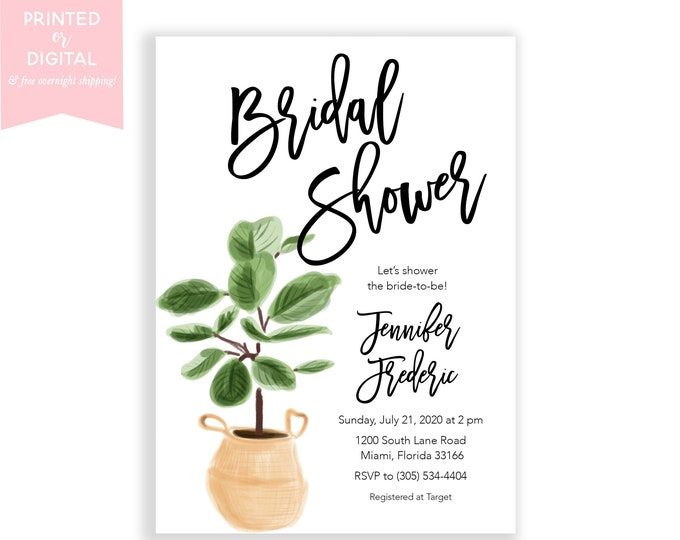Minimalist Bridal Shower Invitation, House Plant Invitation, Succulent Bridal Shower, Fiddle Leaf Fig, New Home, Housewarming Party, Printed