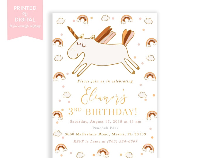 Unicorn Birthday Invitation, Muted, Boho Rainbow Birthday Invitation, Neutral, Earth Tone Rainbow Birthday, Printed Invitations or Digital