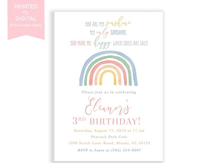 Muted Rainbow Birthday Invitation, Boho Rainbow Birthday Party Invite, Pastel Rainbow, First 1st Birthday, Printed Invitations or Digital