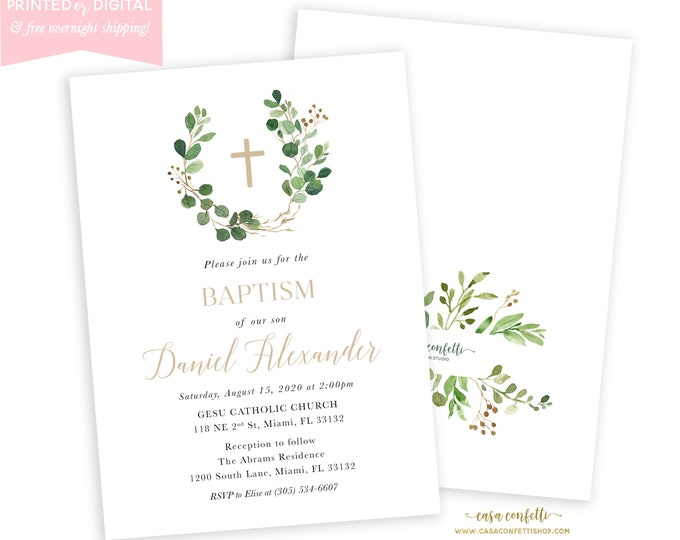 Eucalyptus Baptism Invitation Boy Girl, First Communion, Christening Invitation, Leaf Baptism Invitation, Minimalist Invite, Printed