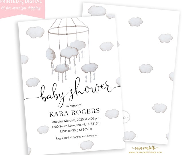 Cloud Baby Shower Invitation, Gender Neutral, Cloud Crib Mobile, Cloud Nursery, Celestial Baby Shower, Printed and Digital File