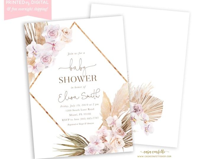 Pampas Grass Baby Shower Invitation, Boho Invite, Girl, Bohemian Invite, Tropical Desert, Mauve, Dusty Rose, Printed Invitations, Digital
