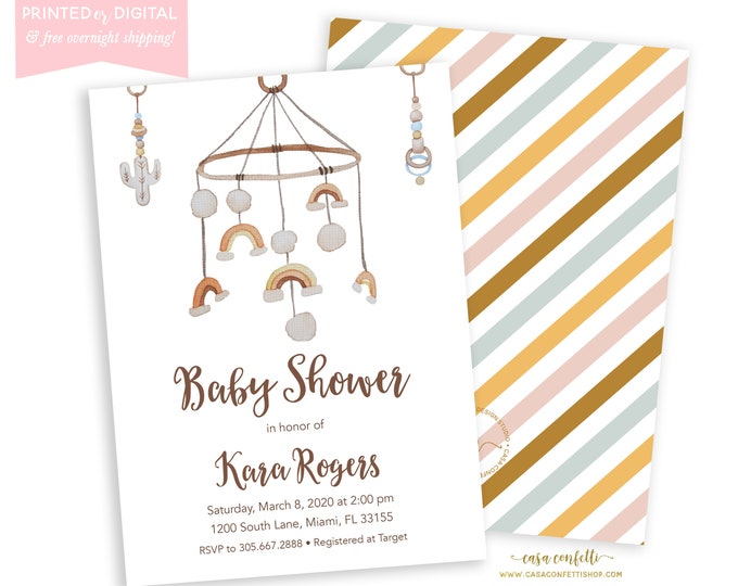 Muted Rainbow Baby Shower Invitation, Boho Rainbow Baby Shower Invite, Crib Mobile Invitation, Gender Neutral, Printed Invitations, Digital