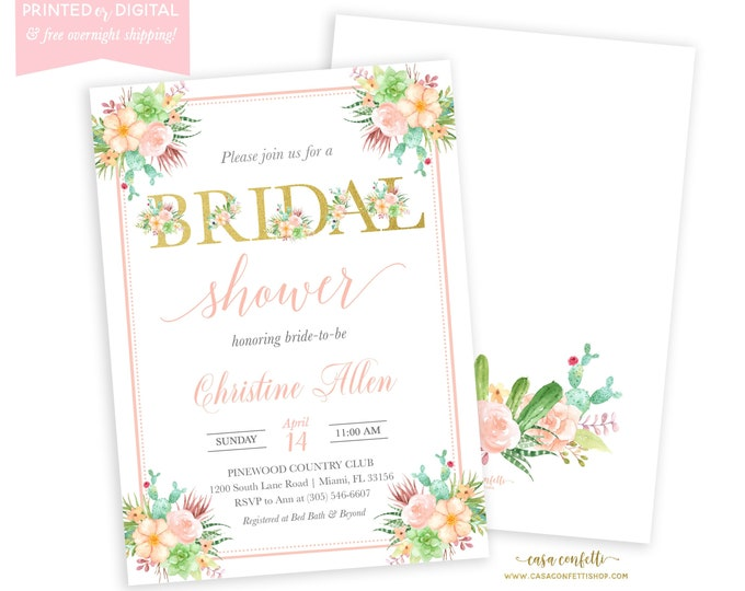 Succulent Bridal Shower Invitation, Cactus Invite, Fiesta Bridal Shower, Mexican Cinco de Mayo Invite, Printed Invitations, Digital File
