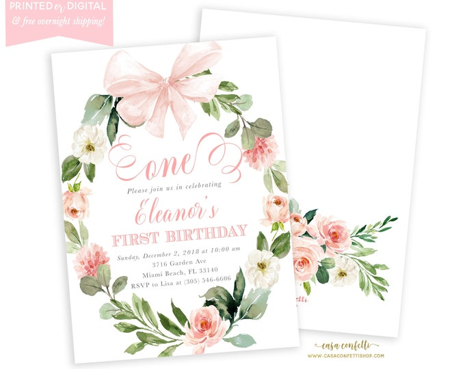 Pink First Birthday Invitation Girl, Bow, Tea Party Invitation, Pink Floral Wreath Invite, 1st Birthday, Printed or Printable