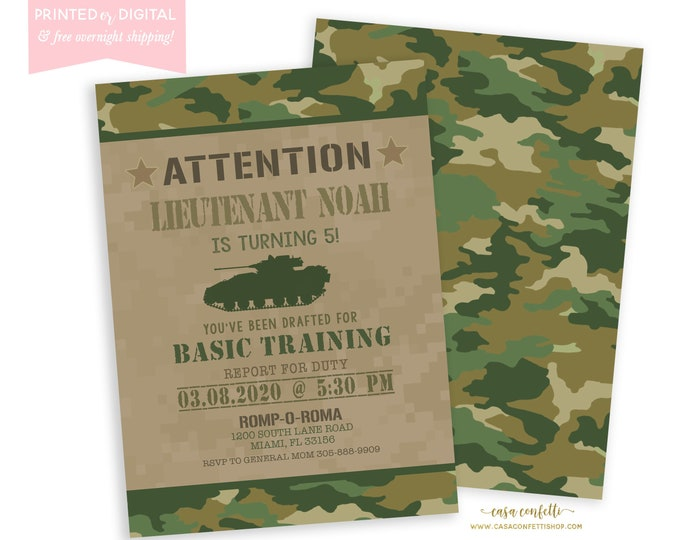Army Birthday Invitation, Army Party, Camouflage Camo Invitation, Boy Birthday Invitation, Military Party, Army Theme, Printed or Digital