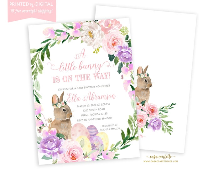 Bunny Baby Shower Invitation, Easter, Rabbit Invite, Little Bunny on the Way, Somebunny Special, Floral Invitation, Printed or Printable