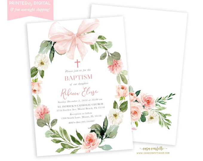 Pink Baptism Invitation, Bow, Pink Floral Girls Baptism Christening Invite, Girls First Communion, Pink and Gold Floral