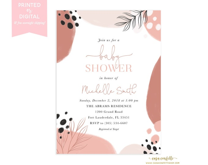 Modern Abstract Baby Shower Invitation, Blush and Black Watercolor Form Baby Shower Invite, Neutral Watercolor Dot Minimalist Baby Shower