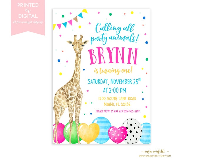 Calling all Party Animals Birthday Invitation, Giraffe Birthday Invitation, Rainbow Balloon Invitation, Colorful Birthday Party Invitation