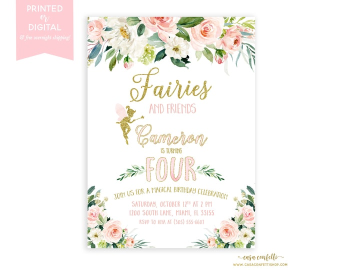 Fairy Garden Birthday Invitation, Floral Fairy Invitation, Floral Fairy Invitation, Fairy Theme Birthday, Girl Birthday Invite