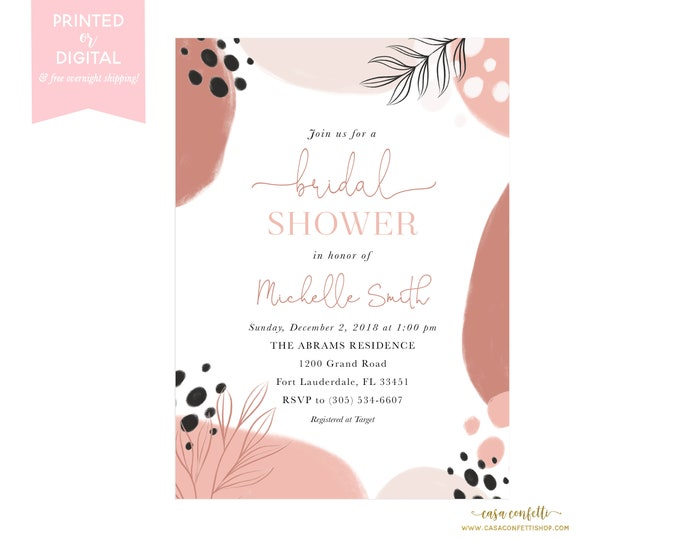 Modern Abstract Bridal Shower Invitation, Blush and Black Watercolor Form Bridal Shower Invite, Watercolor Dot Minimalist Bridal Shower