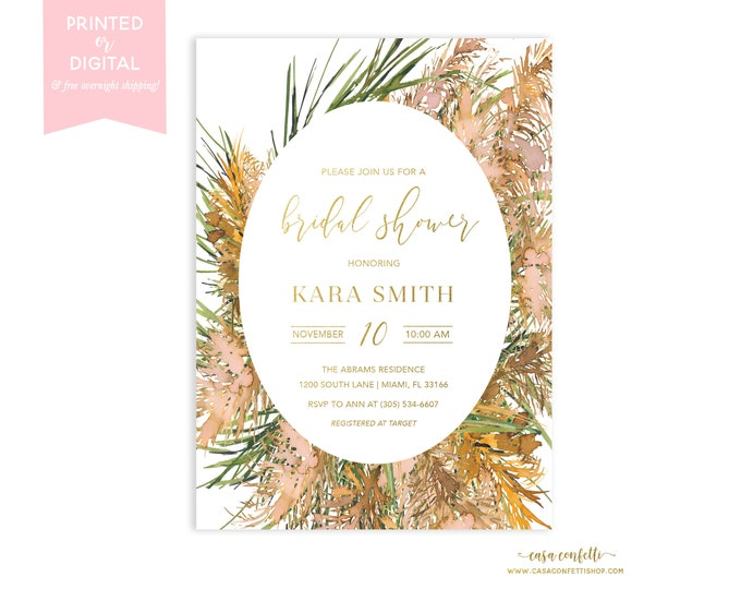 Pampas Grass Bridal Shower Invitation, Boho Bridal Shower Invite, Bohemian Bridal Shower, Greenery Fall Bridal Shower, Printable