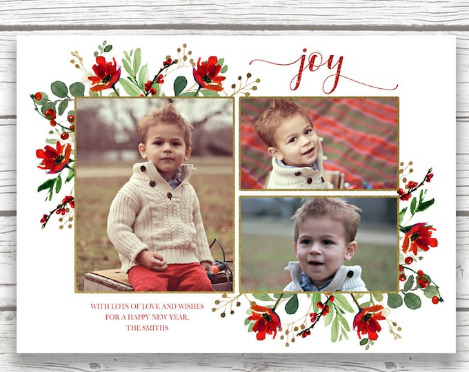 Photo Christmas Card, Floral Christmas Photo Card, Red Christmas Card, Holiday Photo Card, Christmas Picture Card, Holly Christmas Card
