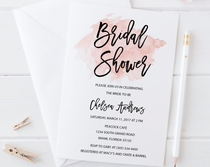 Bridal Shower Invitation, Watercolor Bridal Shower Invitation, Pink Bridal Shower Invitation, Wedding Shower Invitation, Printable Invite