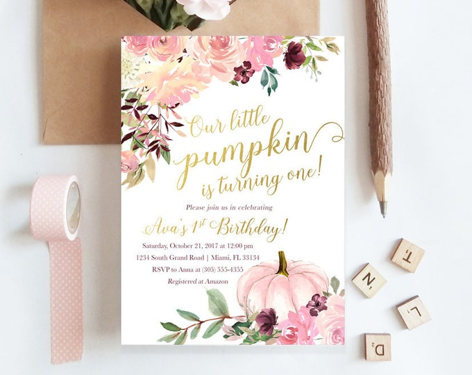 Pink Pumpkin Birthday Invitation Girl, Little Pumpkin is Turning One, Fall Birthday Invitation, Floral Pumpkin Invite, 1st Birthday Girl