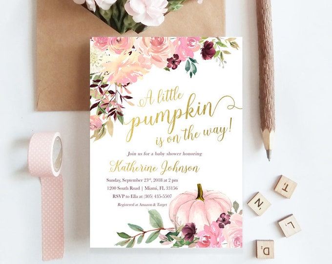 Pink Pumpkin Baby Shower Invitation, Fall Baby Shower Invitation, Little Pumpkin on the Way Invite, Girl Baby Shower Invitation
