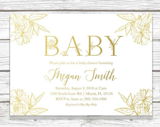 Gold Leaf Baby Shower Invitation, White and Gold Baby Shower Invitation, Leaf Baby Shower Invite, Gender Neutral Baby, Botanical Invitation