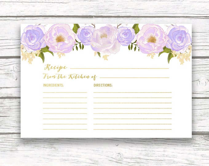 Lavender Floral Bridal Shower Recipe Cards, Gold Foil Invitation Recipe Card Insert, Wedding Bride, Purple Rose Peony Instant Download